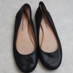 Lucky brand black leather ballet flats 7.5